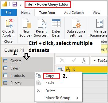 Copy Query dataset