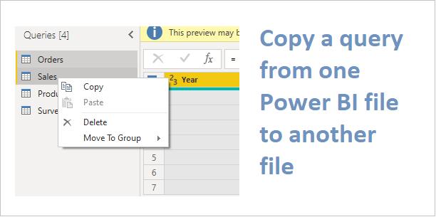 Copy queries in Power BI