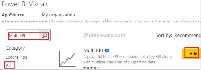 Multi KPI - Import visual