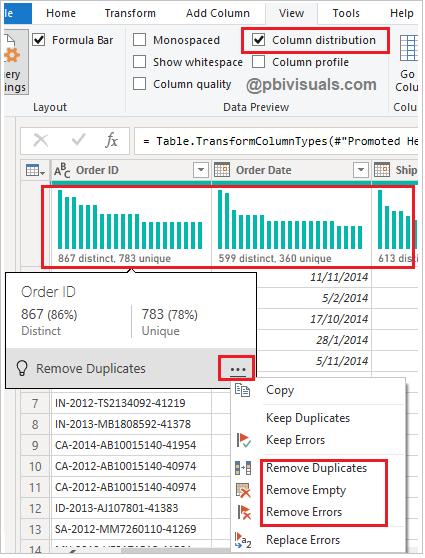 Data profiling column distribution