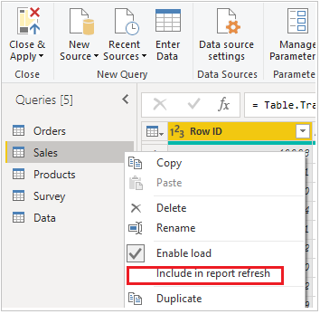 Include in Report Refresh