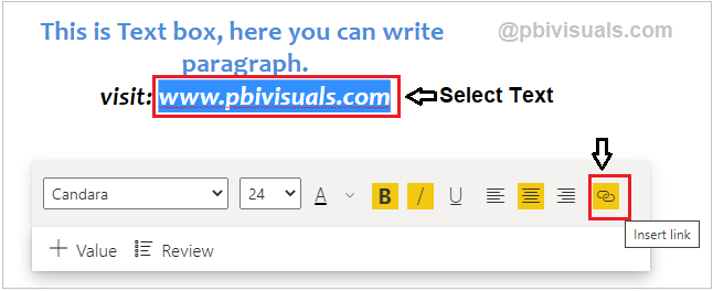 Insert link for Text in Power BI