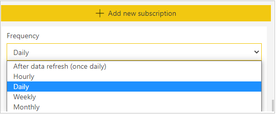 Set frequency in subscription