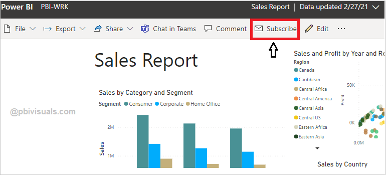 Subscribe Report in Power BI service