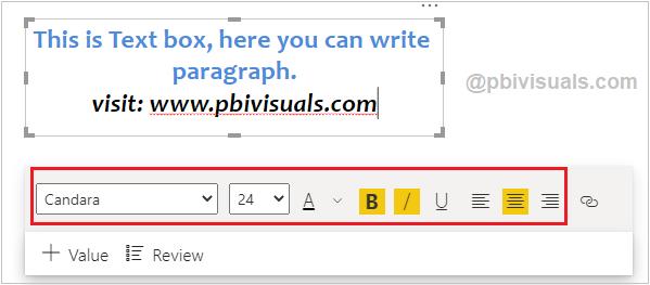 Text box in Power BI