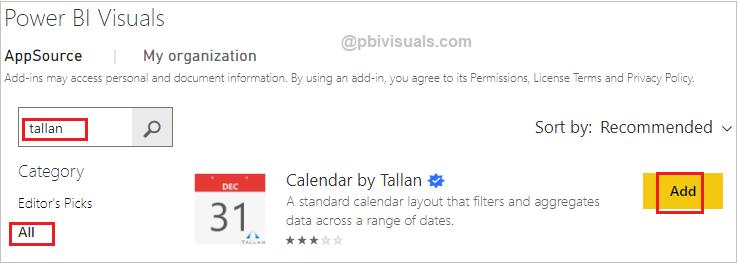 Calendar by Tallan Custom Visual