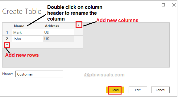 Create table by typing in Power BI