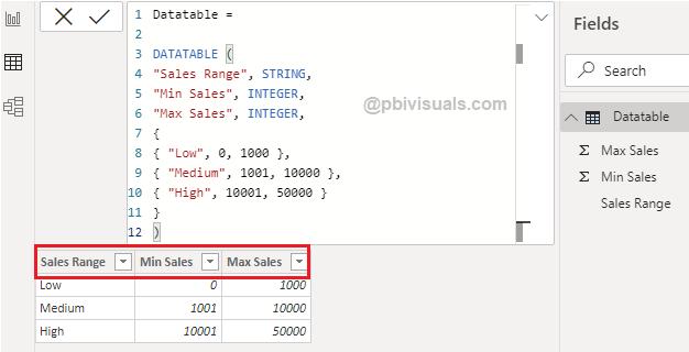 Datatable DAX function Power BI
