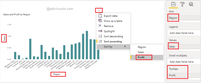 Sort data by tooltip in chart visual