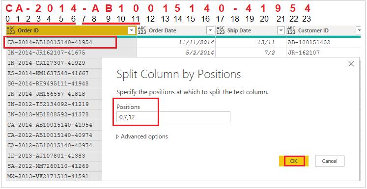 Split columns by positions