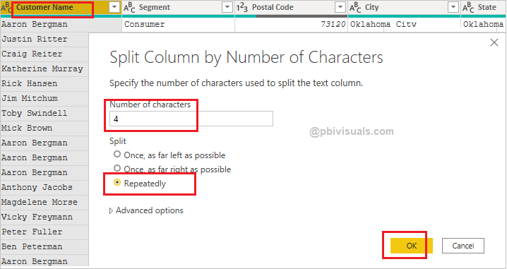 Split columns by number of characters