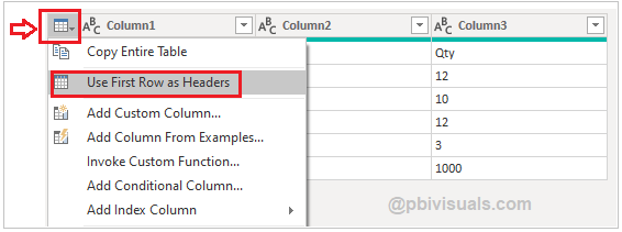Use first row as headers in Power Query
